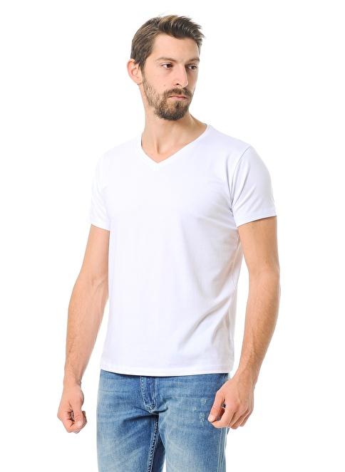 Crispino V Yakalı Tişört Beyaz